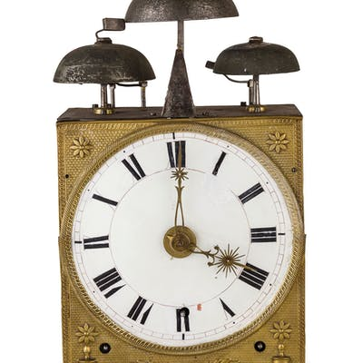 A THREE BELL MORBIER CLOCK, FRANCE, 19TH CENTURY; WEAR, TRACES OF