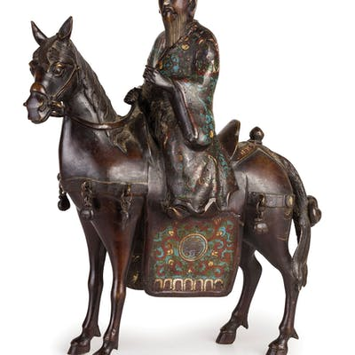A DARK PATINA BRONZE AND ENAMELS SCULPTURE, MIDDLE EASTERN MANUFACTURING