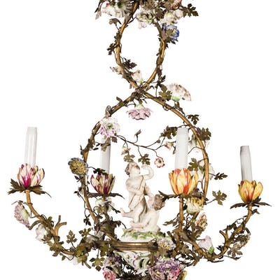 A CERAMIC AND GILT METAL CHANDELIER, 19TH CENTURY; WEAR, SOME DAMAGES