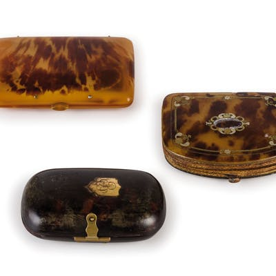 THREE TORTOISESHELL CASES, FRANCE, 19TH CENTURY; WEAR, SOME DAMAGES