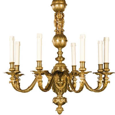 A GILT BRONZE CHANDELIER AS LAMP, 19TH CENTURY; WEAR, SOME TRACES