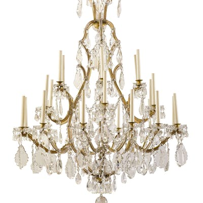 A CRYSTAL, GLASS AND GILT METAL CHANDELIER AS LAMP, 19TH CENTURY;
