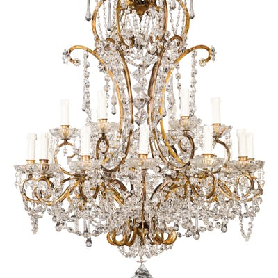 A GILT IRON CHANDELIER, 19TH-20TH CENTURY; WEAR, SOME LOSSES, RESTORATIONS