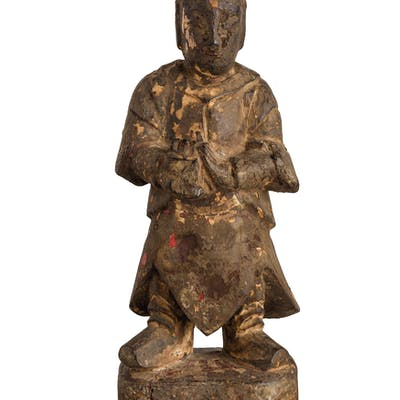 A CHINESE DARK PATINA WOOD SCULPTURE, CHINA, POSSIBLY MING PERIOD;
