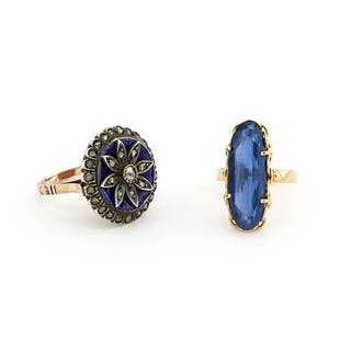 A PAIR OF GOLD, SILVER, ENAMEL, SYNTHETIC SAPPHIRE AND DIAMOND RINGS (2)