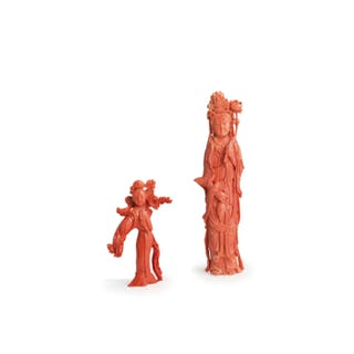 TWO CHINESE CORAL FIGURES, 20TH CENTURY; DEFECTS (2)