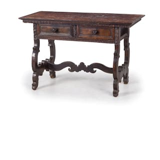 A WALNUT TABLE, 17TH-18TH CENTURY, TOGETHER WITH A TABLE; WEAR, DAMAGES