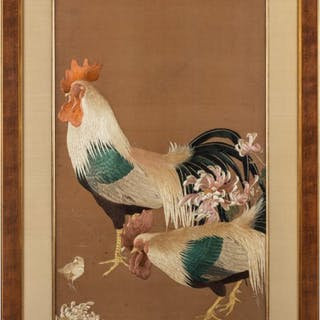 Meiji period needlework of two Cockerels
