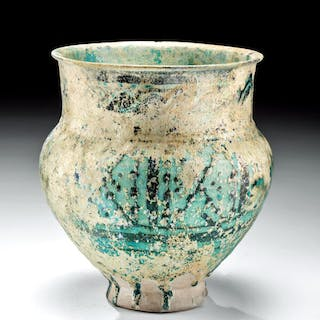 Lot 66, Auction 4/26/2021: 10th C. Islamic Nishapur Glazed Pottery Jar