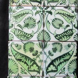 Set of 8 William De Morgan Tiles