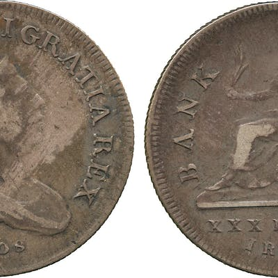 Ireland, George III, Bank of Ireland, Thirty Pence, 1808