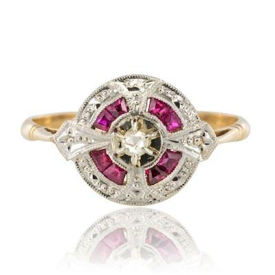 Bague diamants rubis art déco