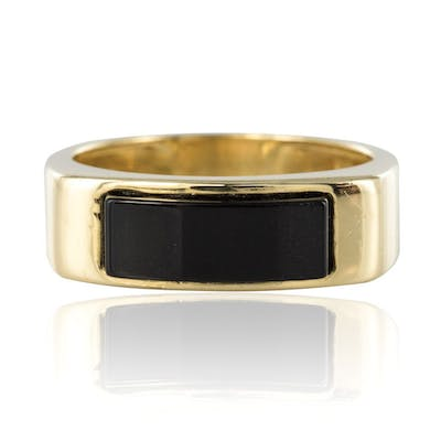 Bague or onyx homme