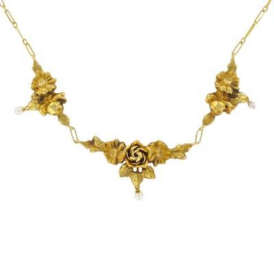 Collier ancien or roses et perles fines