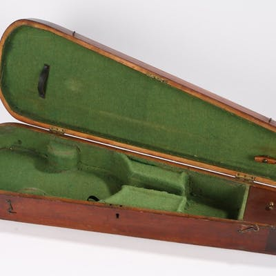 Antique oak violin case with brass fittings