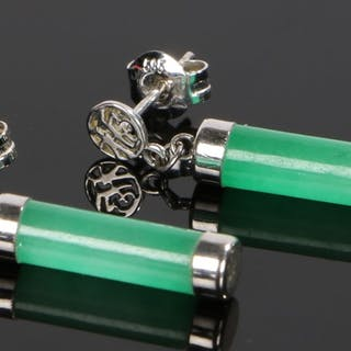 Pair of 14 carat white gold and jade earrings