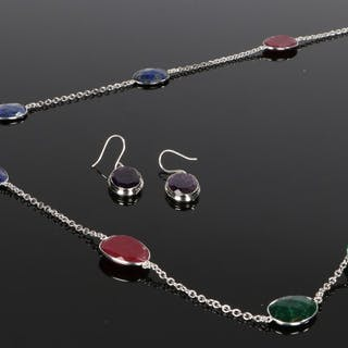 Emerald ruby and jade necklace
