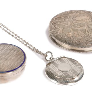Collection of three silver compacts including a locket style Birmingham 1942