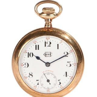 HWC gold plated open face pocket watch