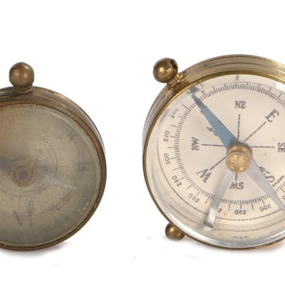 Two brass cased compasses