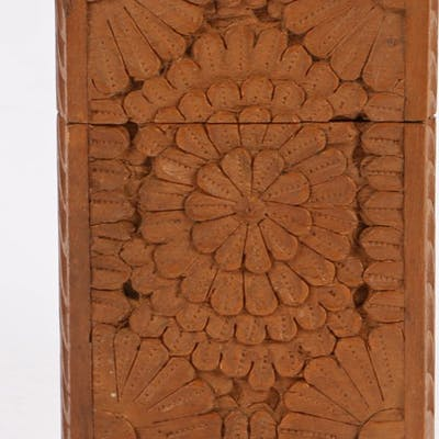 19th Century Indian carved sandalwood card case