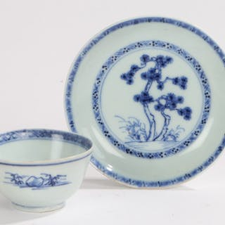 18th Century Nanking Cargo blue and white tea bowl and saucer