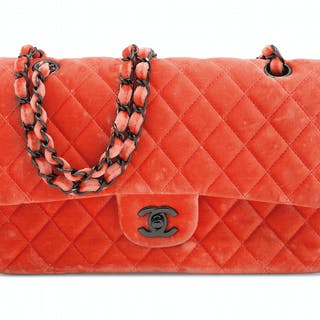 6a63fe6e6ef1 A CORAL VELVET MEDIUM QUILTED DOUBLE FLAP BAG WITH RUTHÉNIUM... CHANEL, 2015