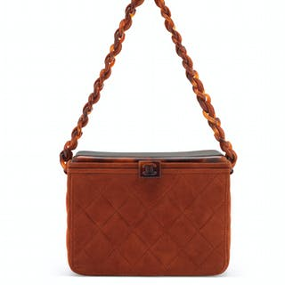 77f94a4eb30f A RUST QUILTED SUEDE LUNCHBOX BAG WITH LUCITE TORTOISE HARDW... CHANEL, 1997