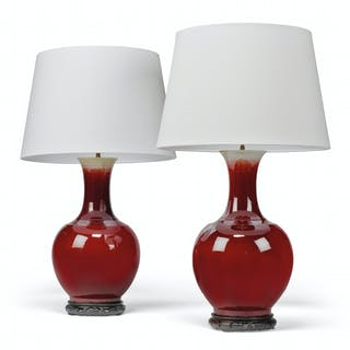 A PAIR OF CHINESE SANG-DE-BOEUF TABLE LAMPS LATE 19TH/20TH CENTURY