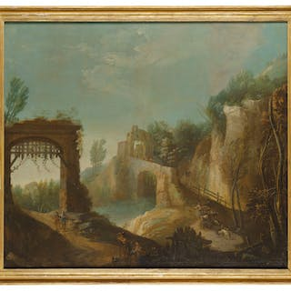 Venetian School, 18th century A wooded river landscape with f...