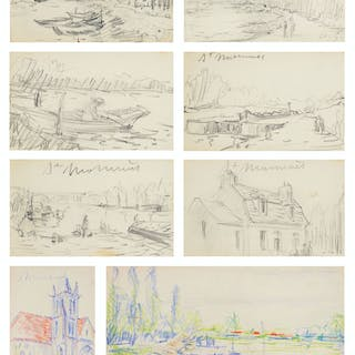 Alfred Sisley (1839-1899) Sketchbook Containing 22 Drawin...