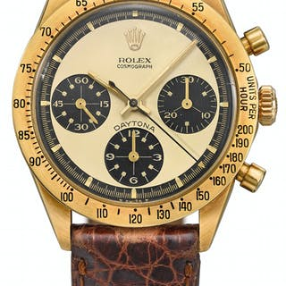 ROLEX. AN EXTREMELY RARE AND HIGHLY ATTRACTIVE 18K GOLD CHRO... SIGNED