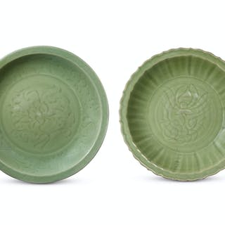 TWO LARGE INCISED LONGQUAN CELADON CHARGERS MING DYNASTY, 15TH CENTURY