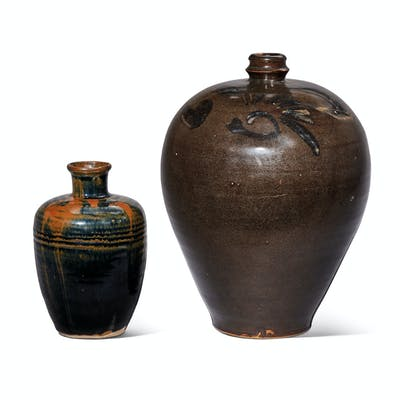TWO RUSSET-SPLASHED BLACK-GLAZED VASES, MEIPING NORTHERN SONG DYNASTY