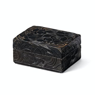 A CARVED SOAPSTONE RECTANGULAR 'LOTUS' BOX AND COVER QING DYNASTY, 17TH CENTURY