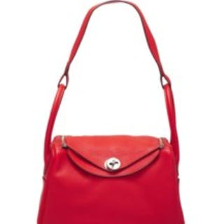 A ROUGE TOMATE CLÉMENCE LEATHER LINDY 26 WITH PALLADIUM HARDWARE