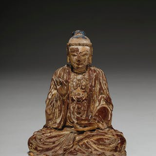 A GILT-LACQUERED WOOD FIGURE OF A SEATED BODHISATTVA YUAN-MING DYNASTY