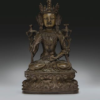 A BRONZE FIGURE OF A BODHISATTVA MING DYNASTY, 15TH-16TH CENTURY...