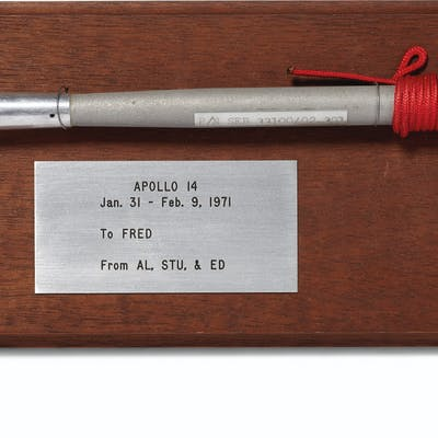 FLOWN ON APOLLO 14 – A camera lens dust brush used on the lu...