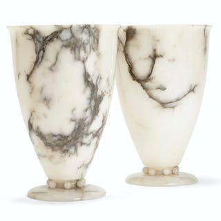 A PAIR OF FRENCH ALABASTER LAMPS 20TH CENTURY