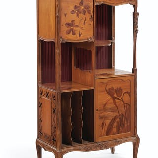 LOUIS MAJORELLE (1859-1926) A FLORAL MARQUETRY MUSIC CABINE...