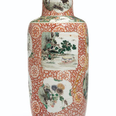 A CHINESE FAMILLE VERTE AND IRON-RED DECORATED ROULEAU VASE ... KANGXI