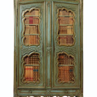 A FRENCH GREEN-PAINTED AND PARCEL-GILT ARMOIRE SECOND HALF 19TH CENTURY