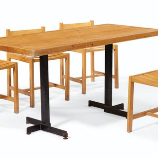 CHARLOTTE PERRIAND (1903-1999) A PINE DINING TABLE, DESIGNED C...