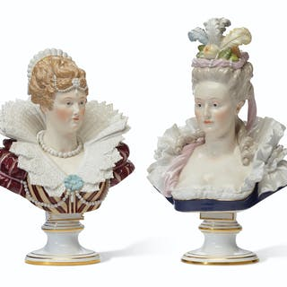 A PAIR OF MEISSEN PORCELAIN PORTRAIT BUSTS LATE 19TH/20TH CENTURY, BLUE CR...