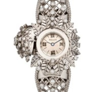 ROLEX, LADIES' 18K WHITE GOLD AND DIAMOND-SET BRACELET WATCH