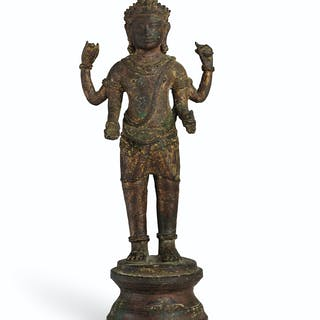 A BRONZE FIGURE OF VISHNU KHMER, 10TH-11TH CENTURY