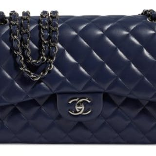 e0dafb3b11f5 A NAVY LAMBSKIN LEATHER JUMBO DOUBLE FLAP BAG WITH SILVER HARDWARE