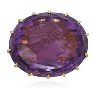 JULIUS COHEN AMETHYST CAMEO AND DIAMOND RING