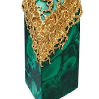 ARTHUR KING MALACHITE AND GOLD BOX